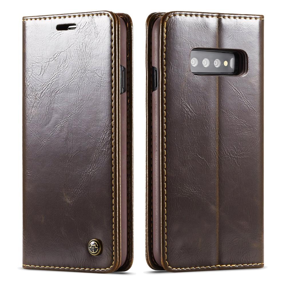 Husa piele fina, tip portofel, stand, inchidere magnetica, Samsung Galaxy S10 - CaseMe, Maro coffee
