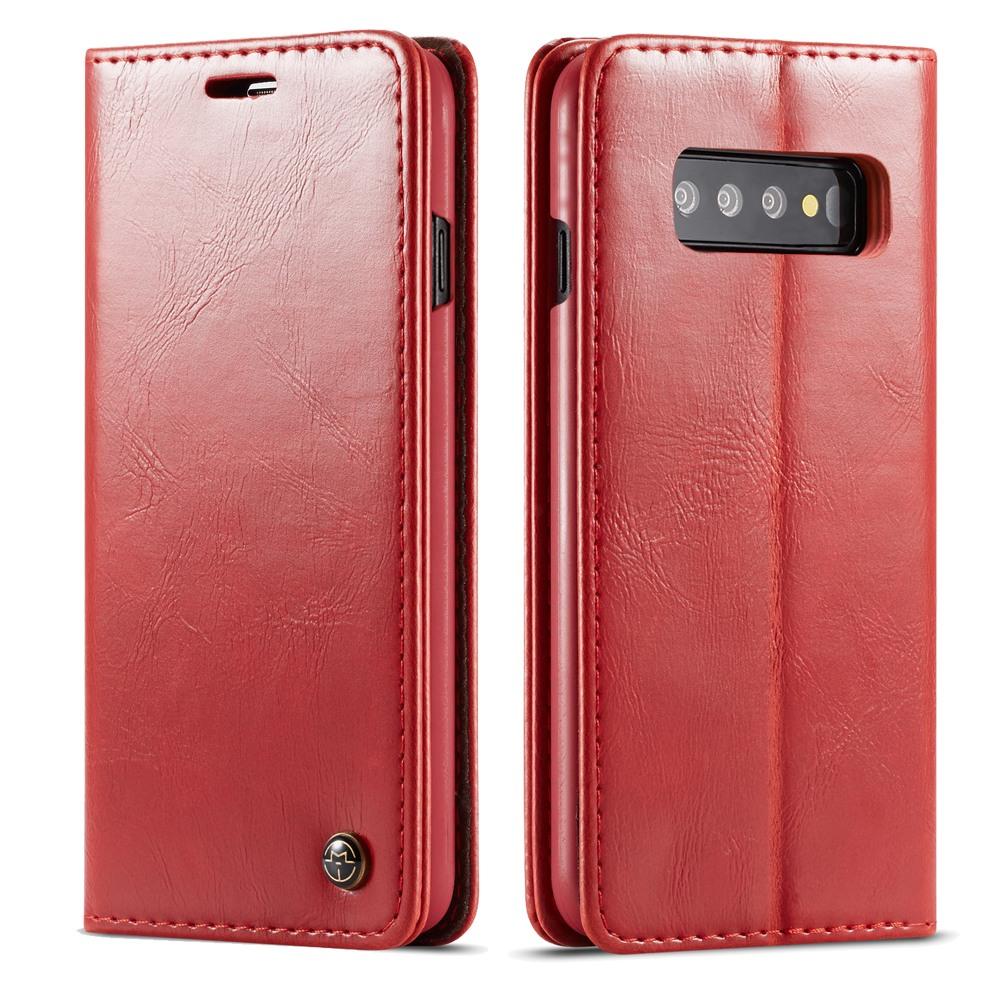 Husa piele fina, tip portofel, stand, inchidere magnetica, Samsung Galaxy S10 - CaseMe, Rosu