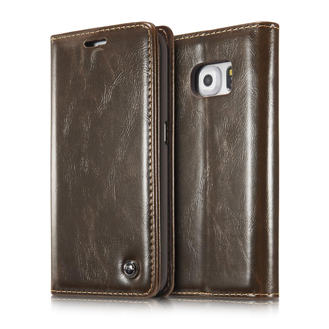 Husa piele fina, tip portofel, stand, inchidere magnetica, Samsung Galaxy S6 Edge Plus - CaseMe, Maro coffee