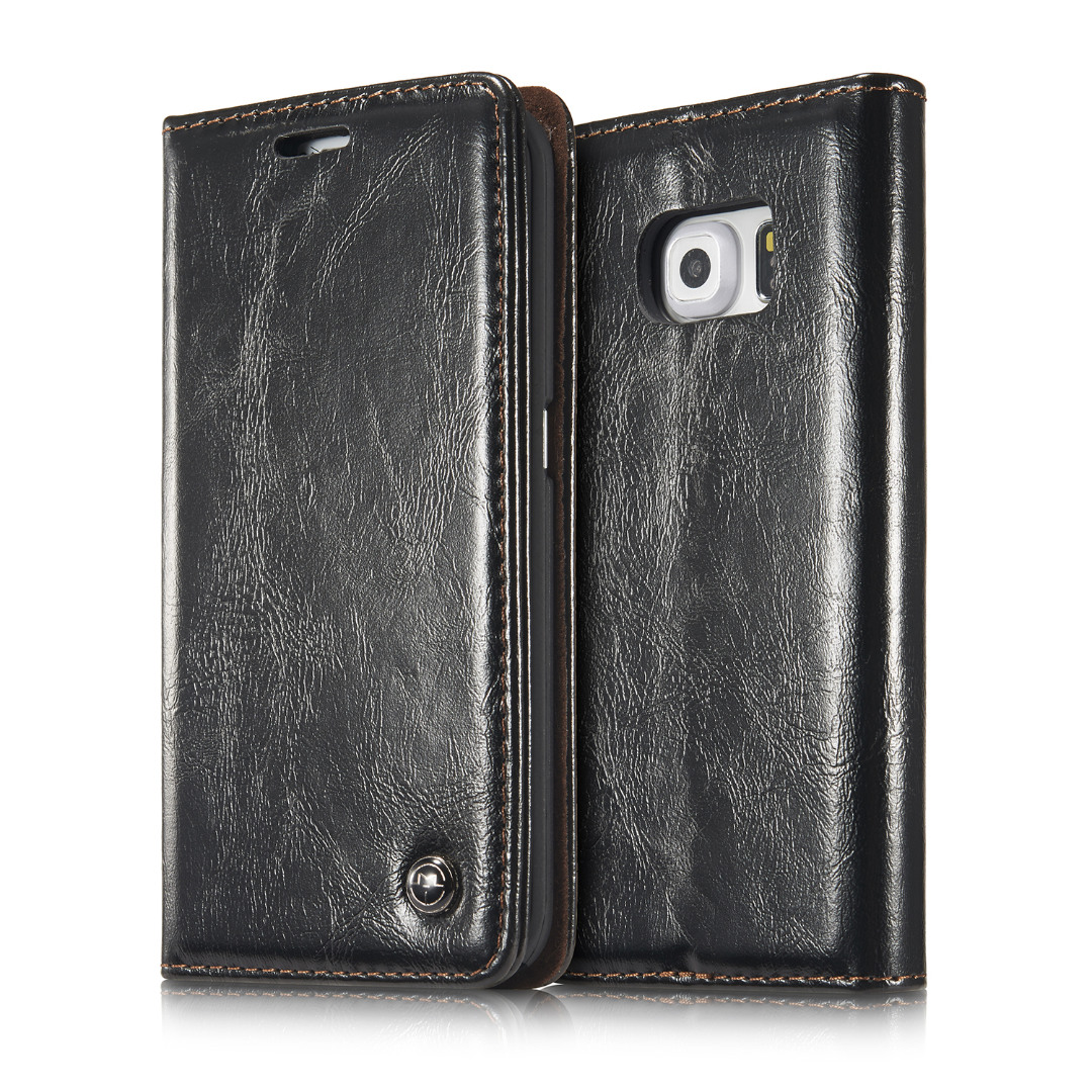Husa piele fina, tip portofel, stand, inchidere magnetica, Samsung Galaxy S6 Edge Plus - CaseMe, Negru