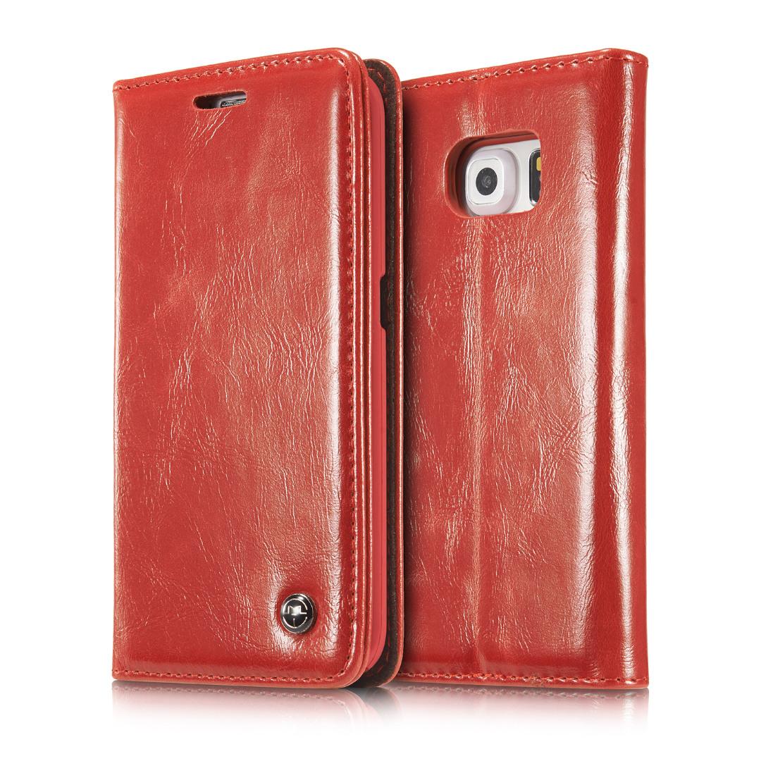 Husa piele fina, tip portofel, stand, inchidere magnetica, Samsung Galaxy S6 Edge Plus - CaseMe, Rosu