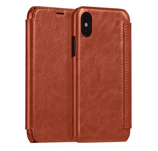 Husa slim piele fina, tip carte, iPhone X / XS - Hoco Crystal, Maro coniac