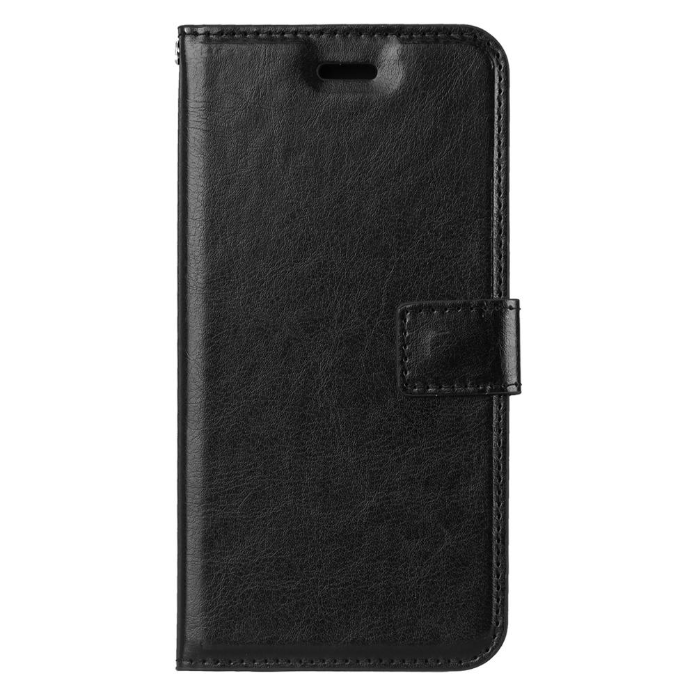 Husa piele fina, tip portofel, inchidere magnetica, stand, suport silicon, iPhone X / XS - CaseMe, Negru