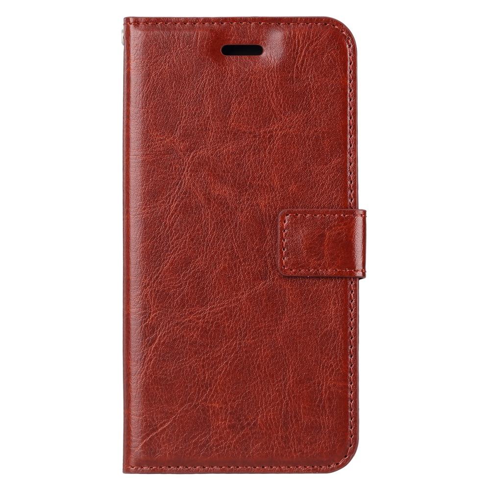 Husa piele fina, tip portofel, inchidere magnetica, stand, suport silicon, iPhone 8 Plus / 7 Plus  - CaseMe, Maro coniac