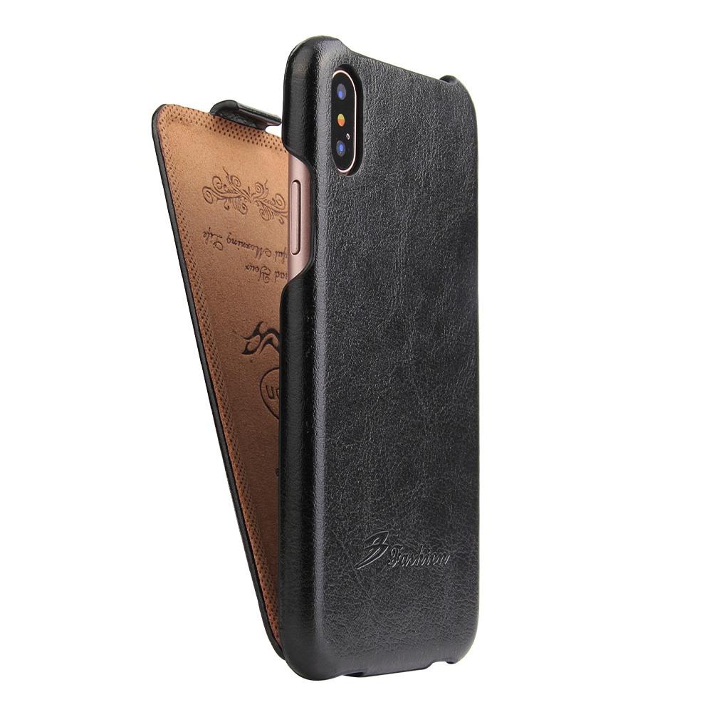 Husa piele fina, tip flip cover vertical, iPhone X / XS - CaseMe, Negru