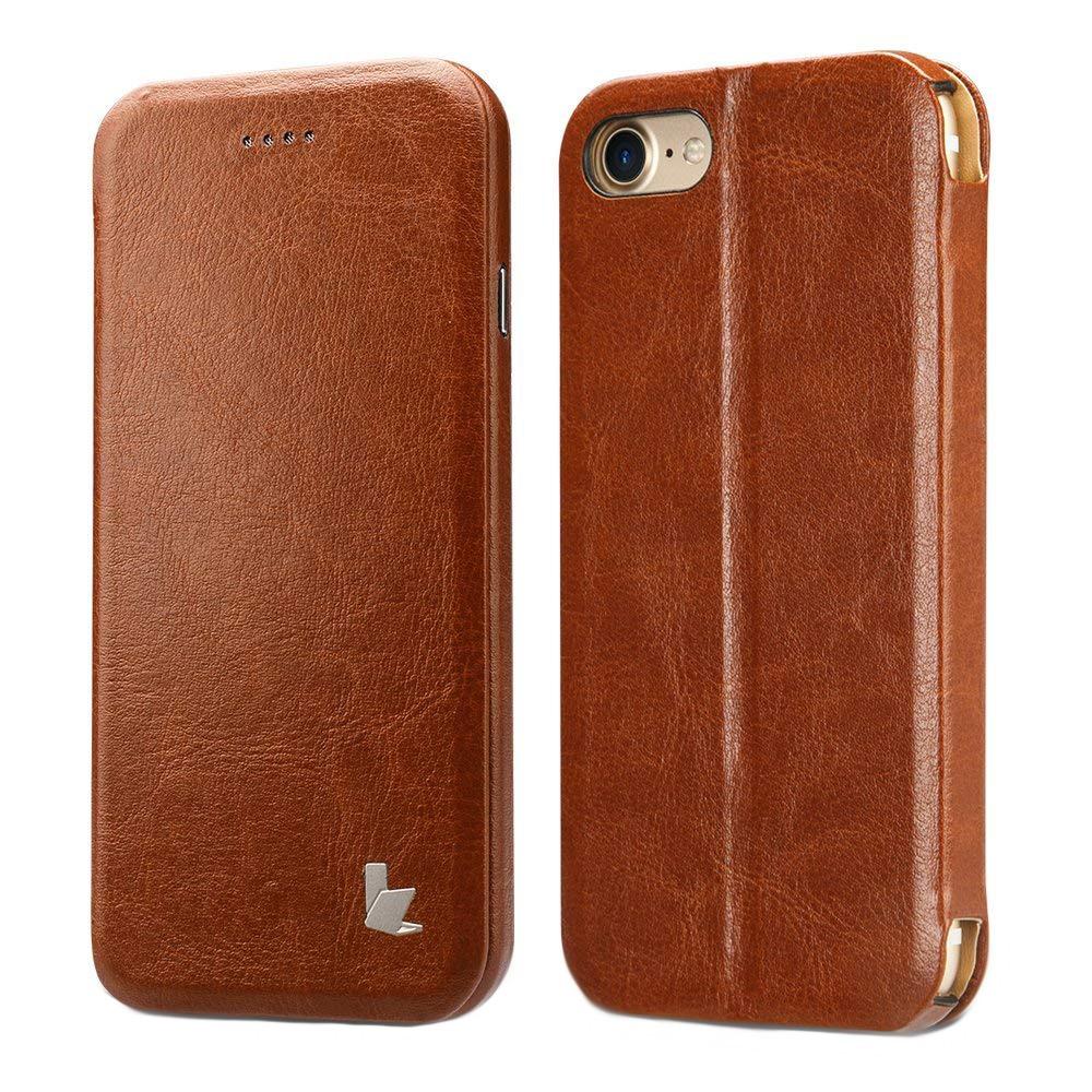 Husa slim piele fina microfibra, stand, inchidere magnetica, iPhone SE 2 (2020) / iPhone 8 / iPhone 7 / iPhone 6 / 6s - Jison Case, Maro coniac