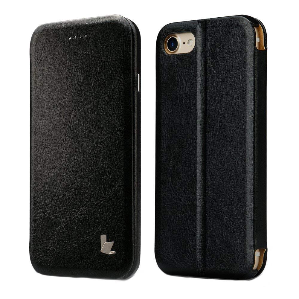 Husa slim piele fina microfibra, stand, inchidere magnetica, iPhone SE 2 (2020) / iPhone 8 / iPhone 7 - Jison Case, Negru