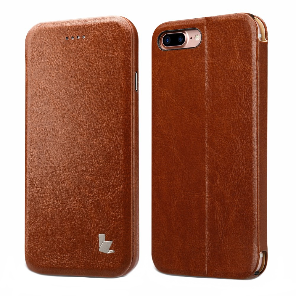 Husa sim piele fina microfibra, stand, inchidere magnetica, iPhone 8 Plus / 7 Plus - Jison Case, Maro coniac