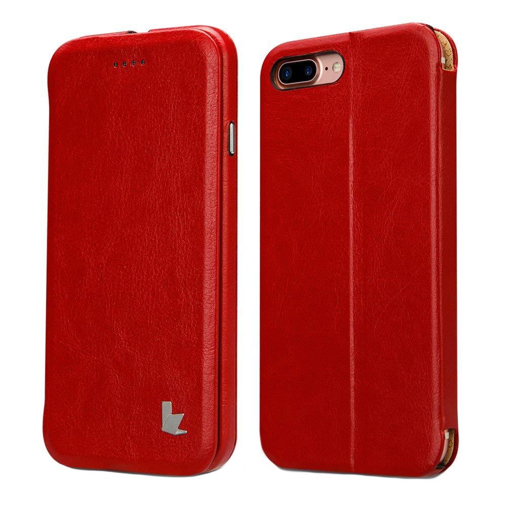 Husa sim piele fina microfibra, stand, inchidere magnetica, iPhone 8 Plus / 7 Plus - Jison Case, Rosu