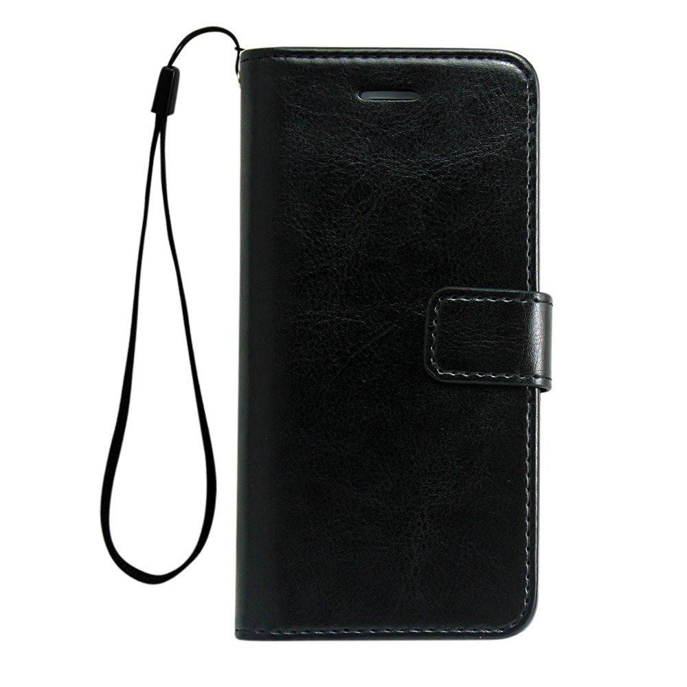 Husa cu protectie superioara din piele fina, iPhone 8 Plus / 7 Plus, tip portofel, Negru