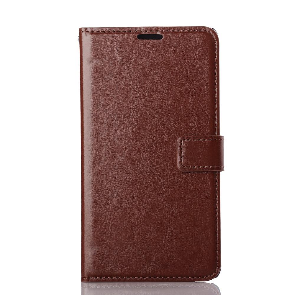 Husa piele fina, tip portofel, inchidere magnetica, stand, suport silicon, Samsung Galaxy Note 4 - CaseMe, Maro coniac