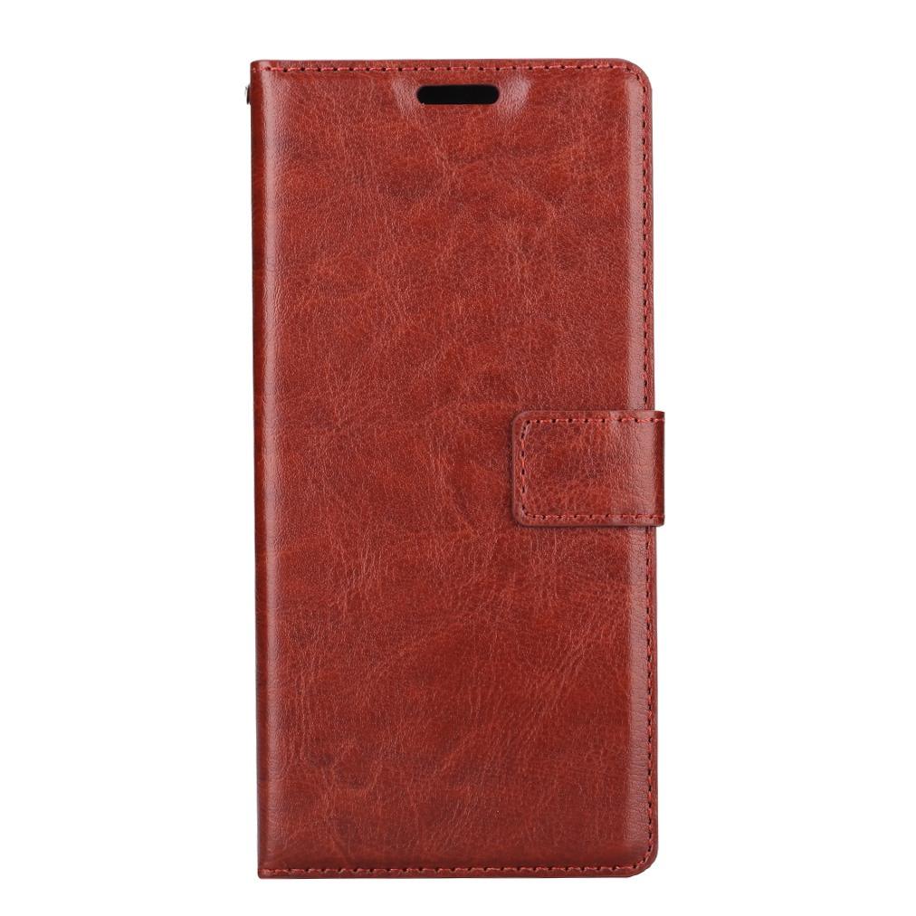 Husa piele fina, tip portofel, inchidere magnetica, stand, suport silicon, Samsung Galaxy Note 5 / Note 5 Duos - CaseMe, Maro coniac