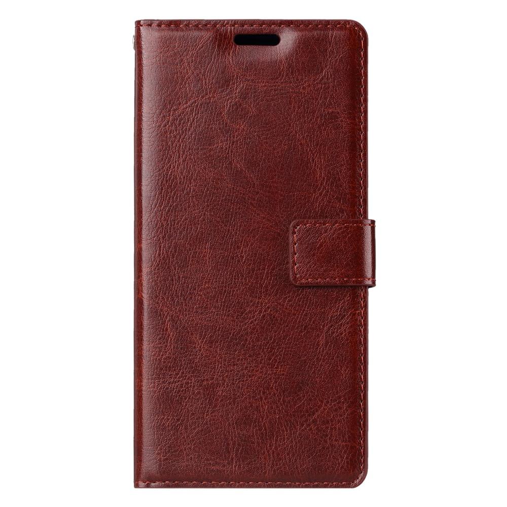 Husa piele fina, tip portofel, inchidere magnetica, stand, suport silicon, Samsung Galaxy Note 9 - CaseMe, Maro coniac