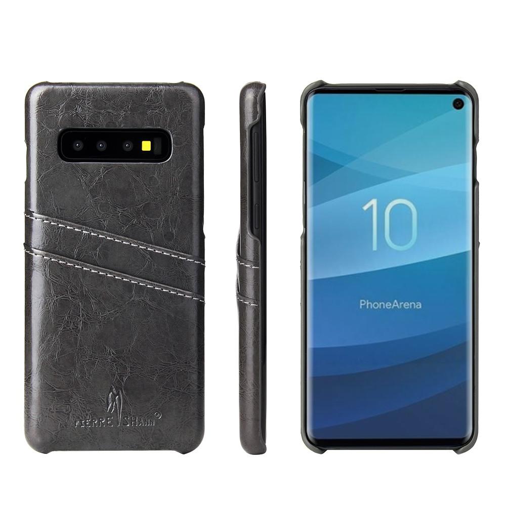 Husa slim piele fina cu textura vintage, tip back cover - Samsung Galaxy S10 Plus - CaseMe, Gri