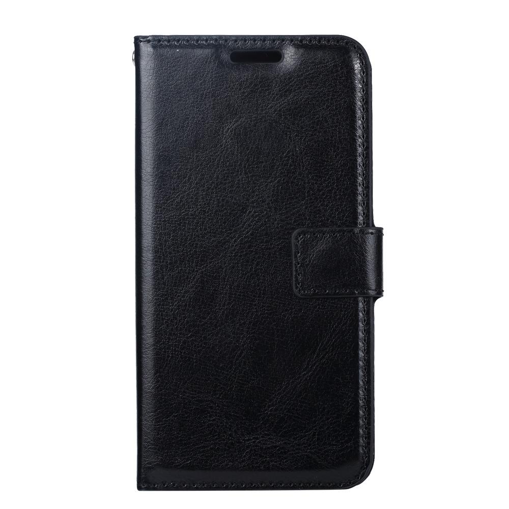 Husa piele fina, tip portofel, inchidere magnetica, stand, suport silicon, Samsung Galaxy S10 Plus - CaseMe, Negru