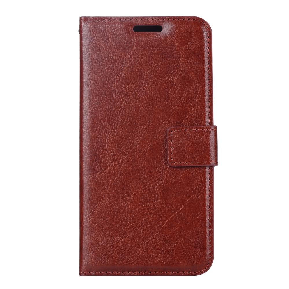 Husa piele fina, tip portofel, inchidere magnetica, stand, suport silicon, Samsung Galaxy S10 - CaseMe, Maro coniac