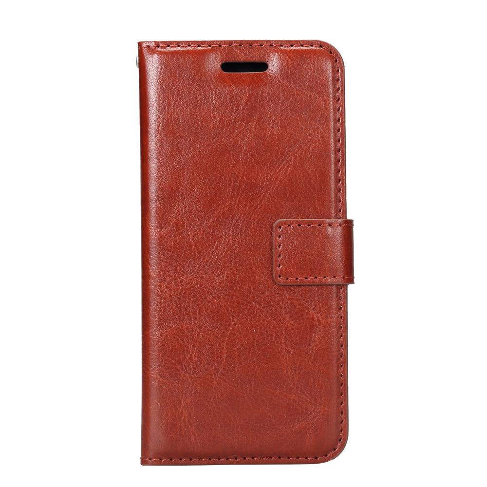Husa piele fina, tip portofel, inchidere magnetica, stand, suport silicon, Samsung Galaxy S8 - CaseMe, Maro coniac