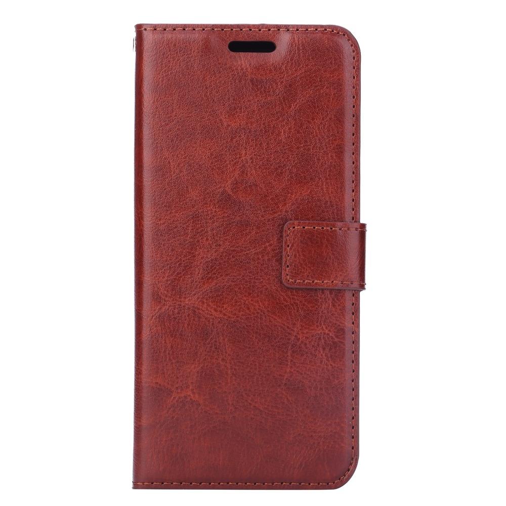 Husa piele fina, tip portofel, inchidere magnetica, stand, suport silicon, Samsung Galaxy S9 Plus - CaseMe, Maro coniac