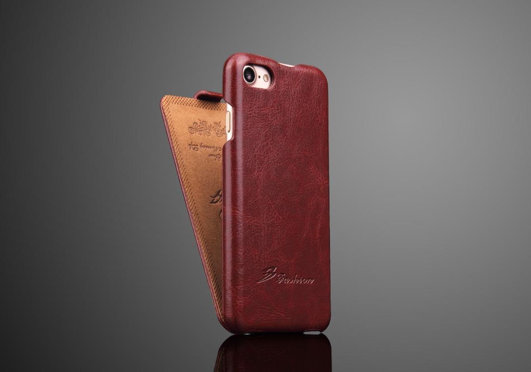 Husa piele fina, tip flip cover, iPhone SE 2 (2020), iPhone 8, iPhone 7 - CaseMe, Maro coniac