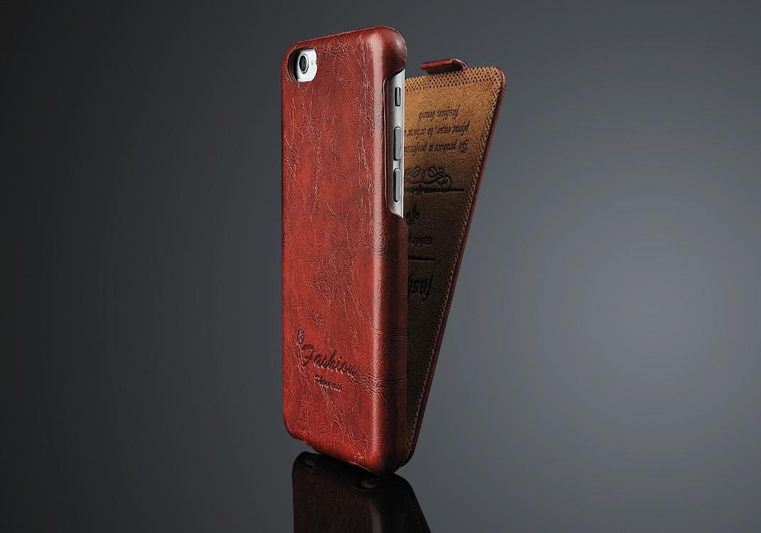 Husa piele fina cu textura usor vintage, tip flip cover, iPhone 6 / 6s, Maro coniac