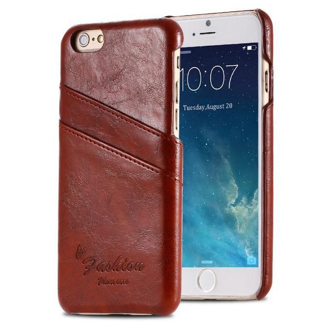 Husa slim piele cu textura vintage, tip back cover, iPhone 6 / 6s, Maro coniac