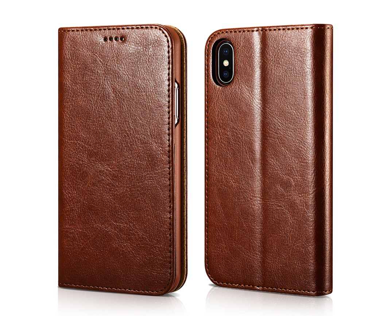 Husa piele fina tip portofel, cu stand, inchidere magnetica, iPhone X / XS - Xoomz by iCarer, Maro coniac