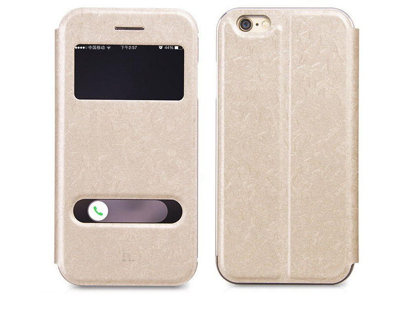 Husa slim piele + aluminiu, 2 in 1, tip carte + bumper, iPhone 6 / 6s - HOCO, Gold