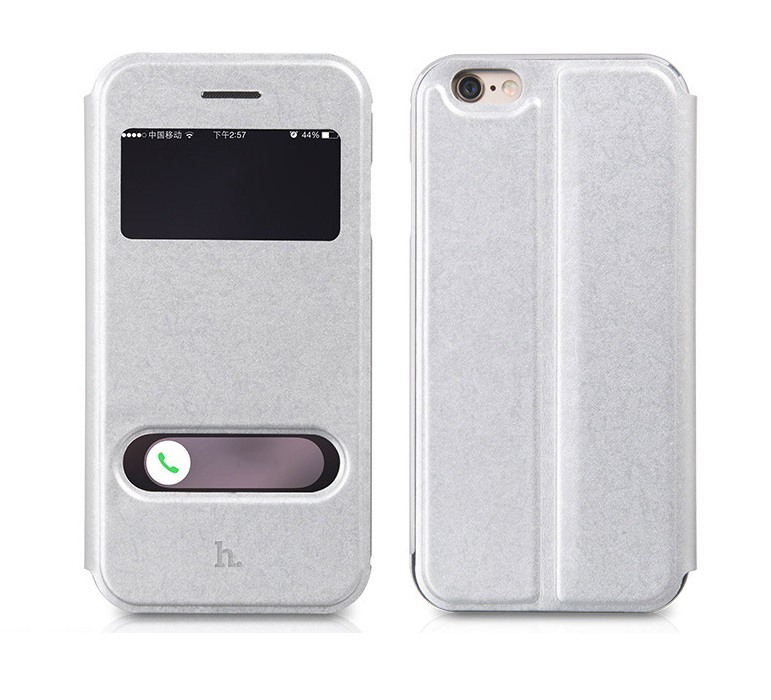Husa slim piele + aluminiu, 2 in 1, tip carte + bumper, iPhone 6 / 6s - HOCO, Silver