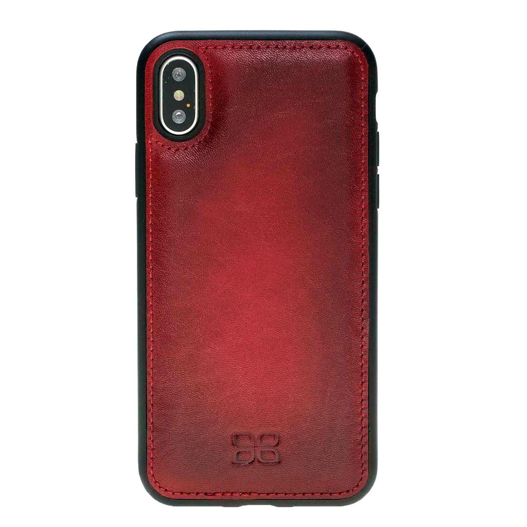 Husa slim piele naturala + rama TPU moale, tip back cover, iPhone X / XS - Bouletta Flex Cover, Burnished red
