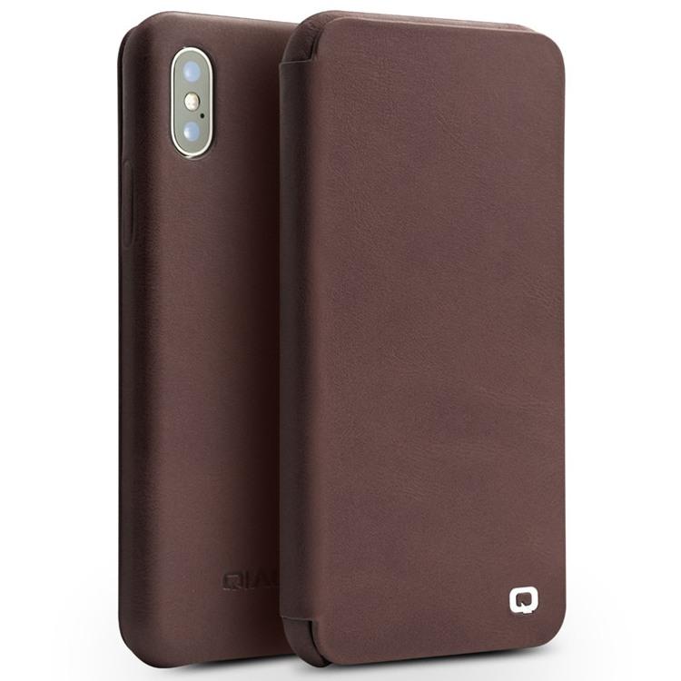 Husa din piele naturala, inchidere magnetica, tip carte, iPhone X / XS - Qialino Genuine Leather, Maro coffee