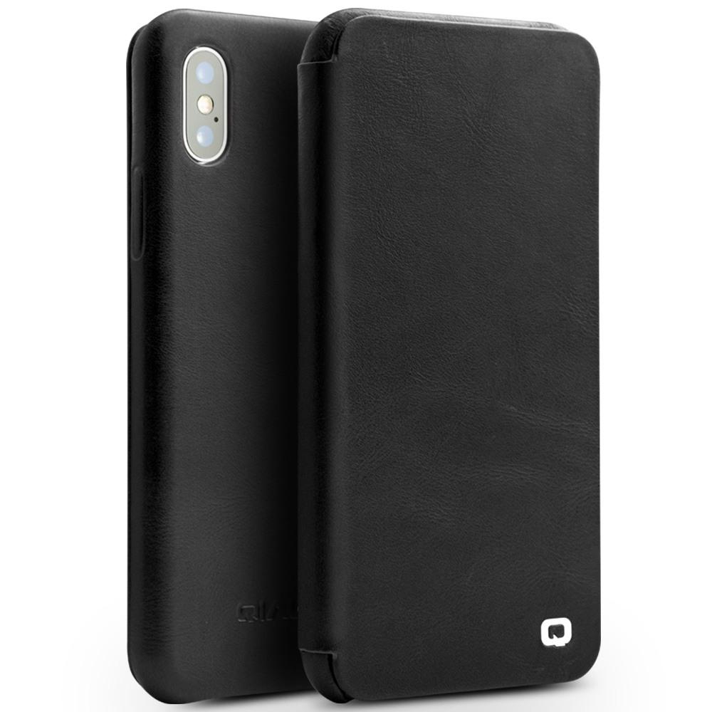 Husa din piele naturala, inchidere magnetica, tip carte, iPhone X / XS - Qialino Genuine Leather, Negru