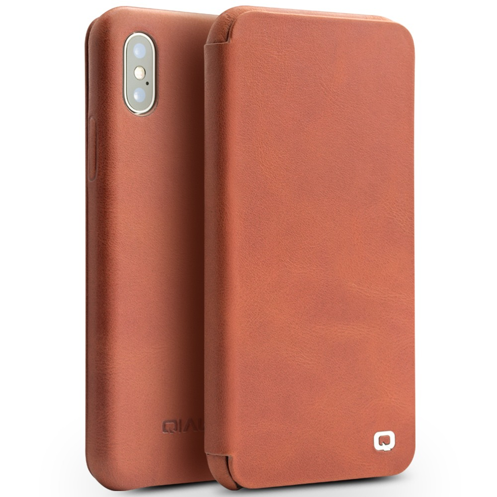 Husa din piele naturala, inchidere magnetica, tip carte, iPhone X / XS - Qialino Genuine Leather, Maro tabac
