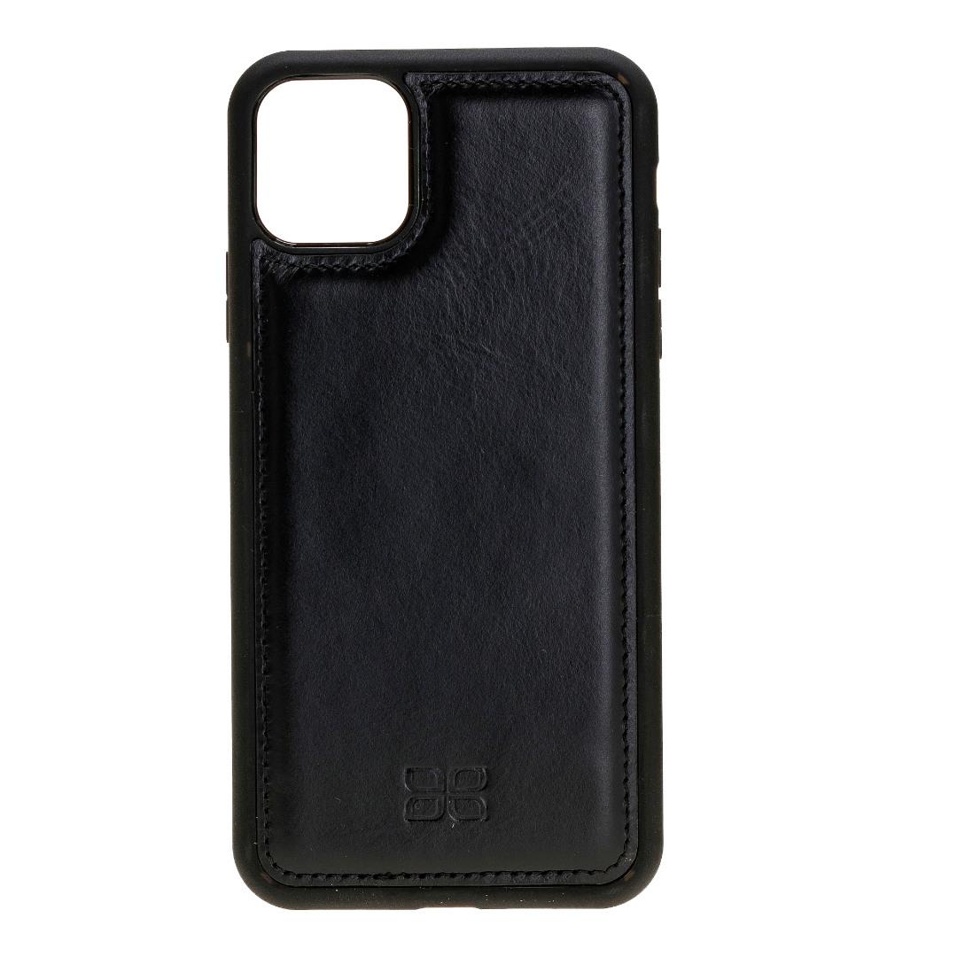 Husa slim piele naturala + rama TPU moale, tip back cover, iPhone 11 - Bouletta Flex Cover, Rustic black