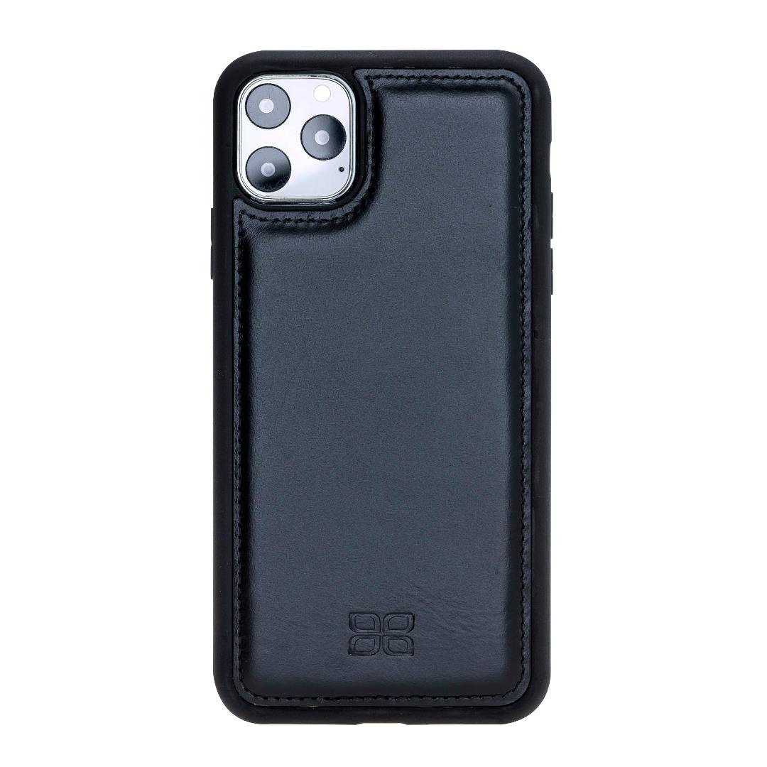 Husa slim piele naturala + rama TPU moale, tip back cover, iPhone 11 Pro Max - Bouletta Flex Cover, Rustic black