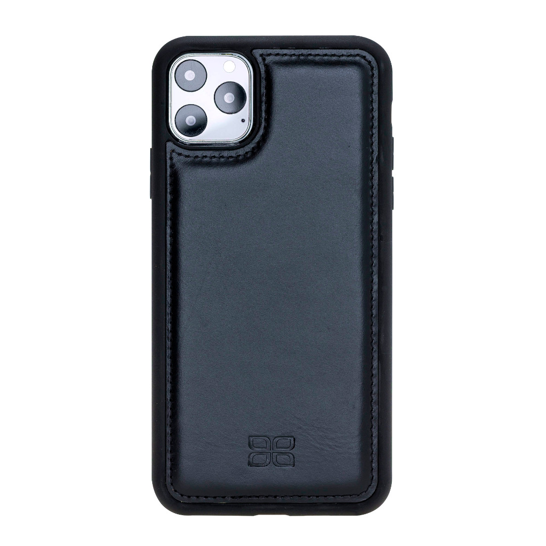 Husa slim piele naturala + rama TPU moale, tip back cover, iPhone 11 Pro - Bouletta Flex Cover, Rustic black