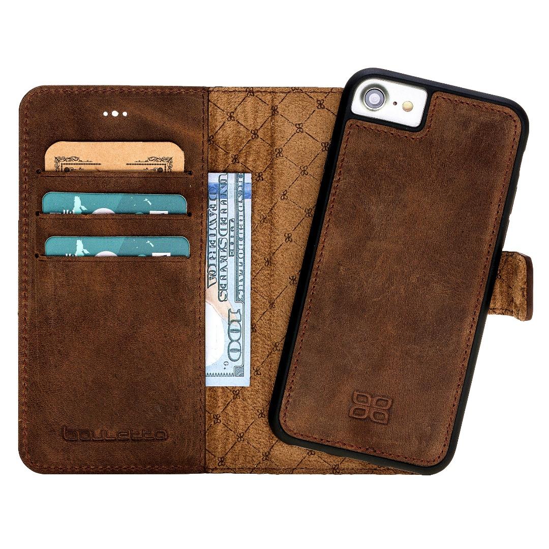 Husa piele naturala 2in1, portofel, back cover, iPhone SE 2 (2020) / iPhone 8 / iPhone 7 - Bouletta Magic Wallet, Antique coffee