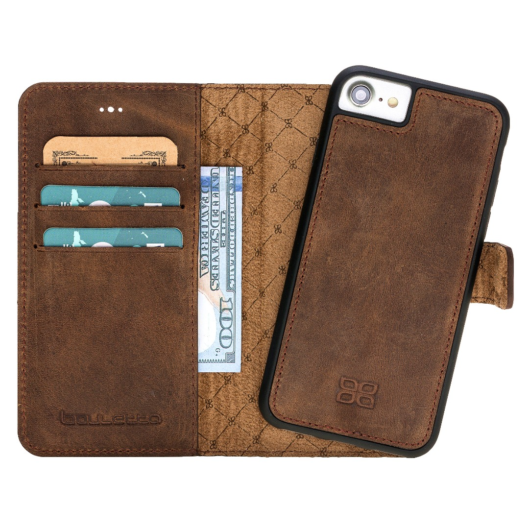 Husa piele naturala 2in1, portofel, back cover, iPhone SE 2 (2020) / iPhone 8 / iPhone 7 - Bouletta Magic Wallet, Antique coffee