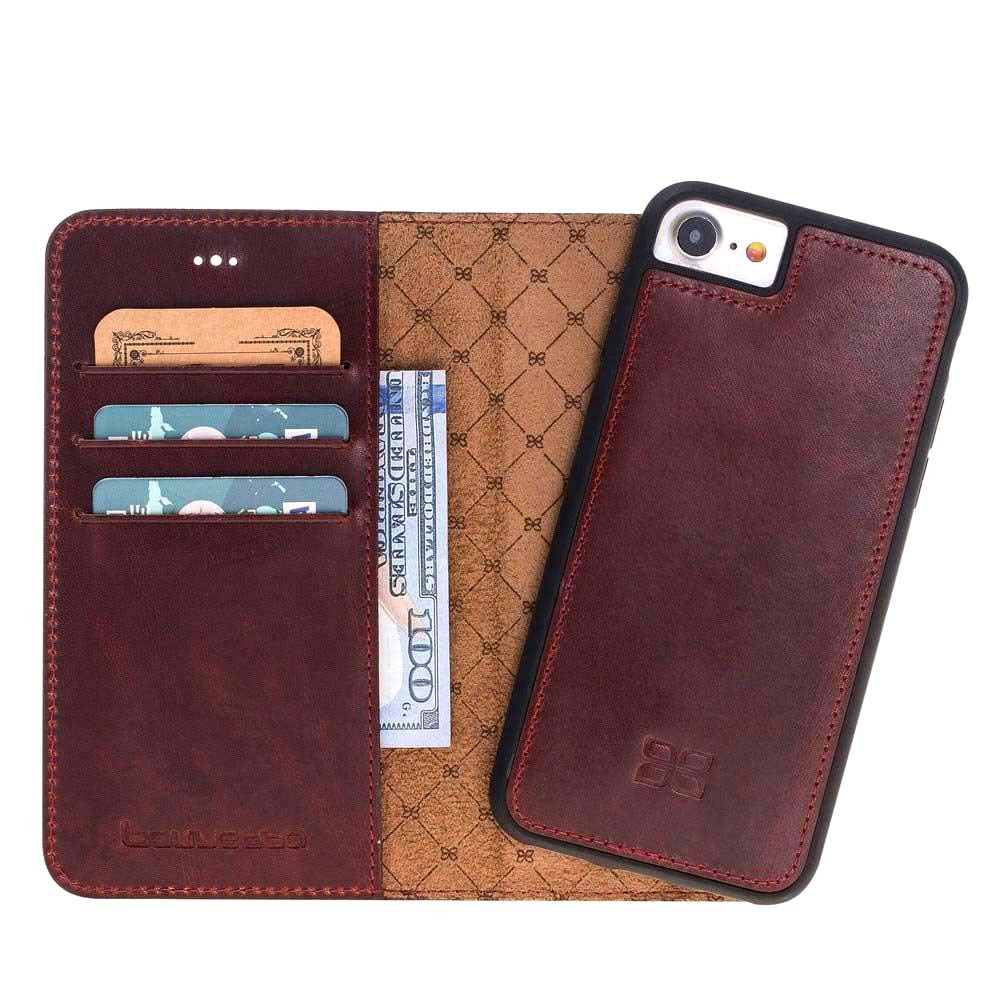 Husa piele naturala 2in1, portofel, back cover, iPhone 8 / iPhone 7 / iPhone 6 / 6s - Bouletta Magic Wallet, Bordeaux