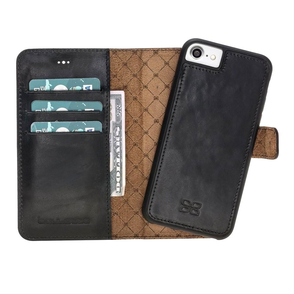 Husa piele naturala 2in1, portofel, back cover, iPhone SE 2 (2020) / iPhone 8 / iPhone 7 - Bouletta Magic Wallet, Negru