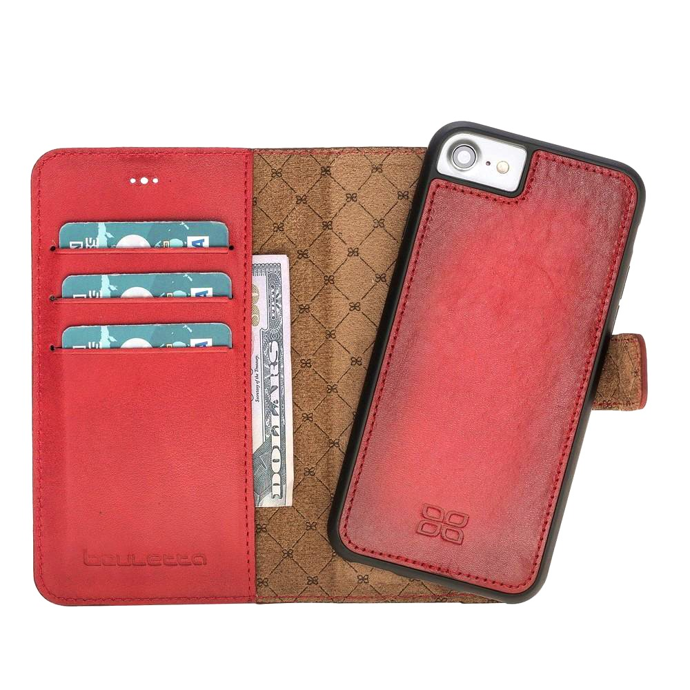 Husa piele naturala 2in1, portofel, back cover, iPhone 8 / iPhone 7 / iPhone 6 / 6s - Bouletta Magic Wallet, Burnished red