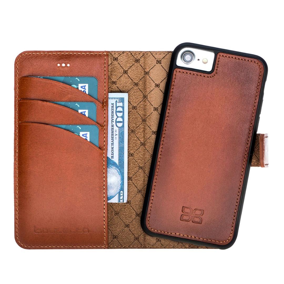 Husa piele naturala 2in1, portofel, back cover, iPhone SE 2 (2020) / iPhone 8 / iPhone 7 - Bouletta Magic Wallet, Burnished tan