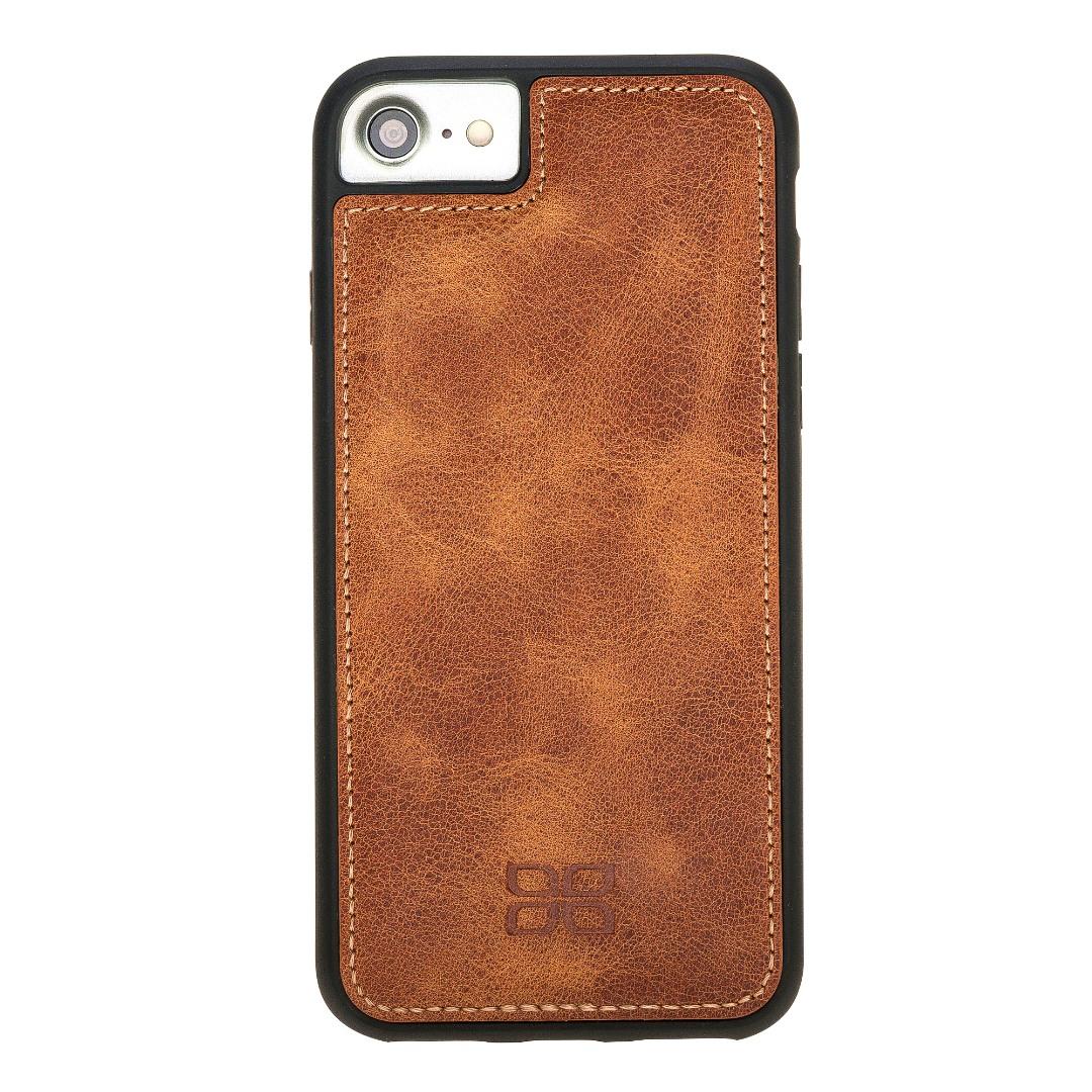 Husa slim piele naturala + rama TPU moale, tip back cover, iPhone SE 2 (2020), iPhone 8, iPhone 7, iPhone 6 / 6s - Bouletta Flex Cover, Tiana tan