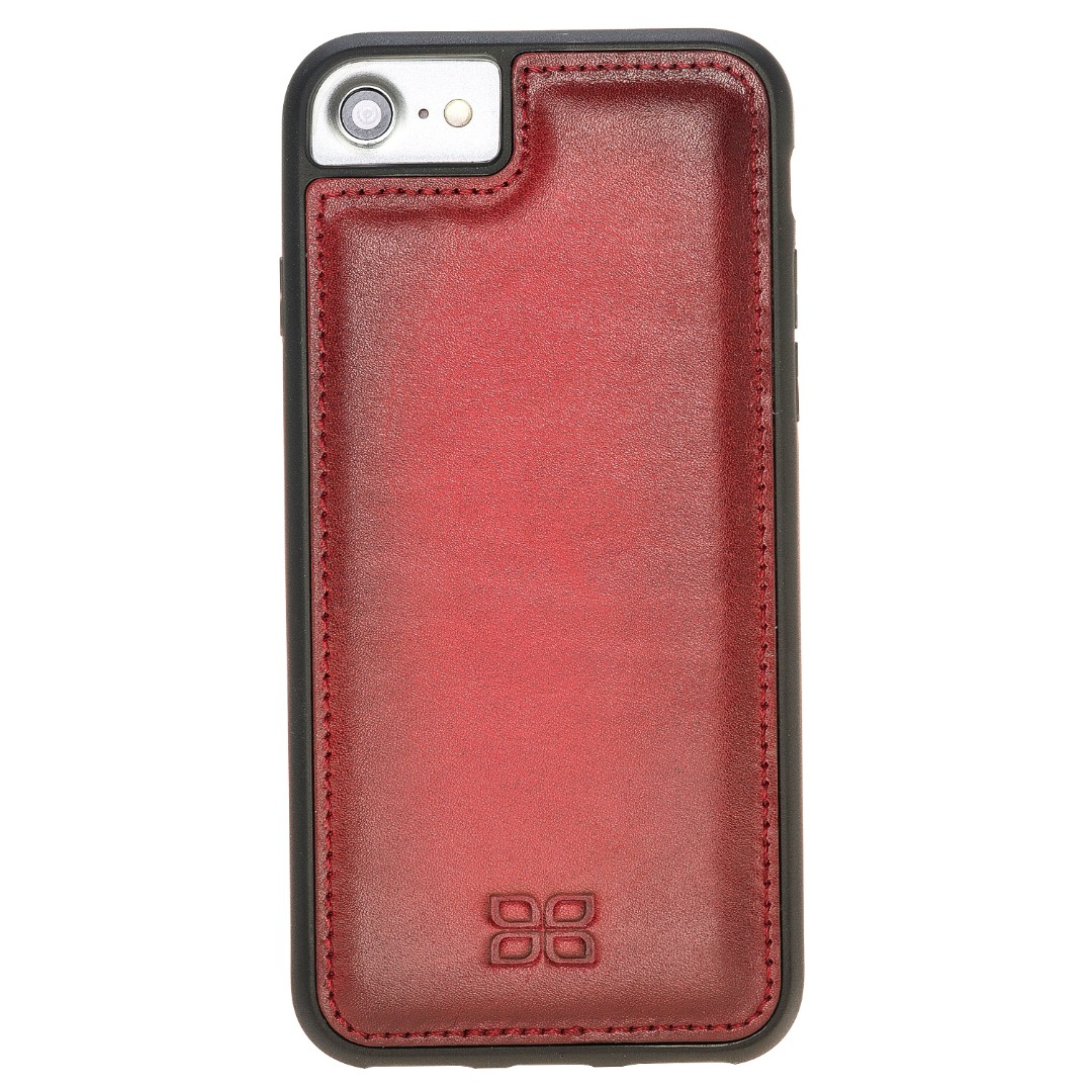 Husa slim piele naturala + rama TPU moale, tip back cover, iPhone 8, iPhone 7, iPhone 6 / 6s - Bouletta Flex Cover, Burnished red