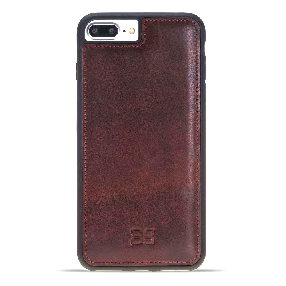 Husa slim piele naturala + rama TPU moale, back cover, iPhone 8 Plus / 7 Plus - Bouletta Flex Cover, Bordeaux