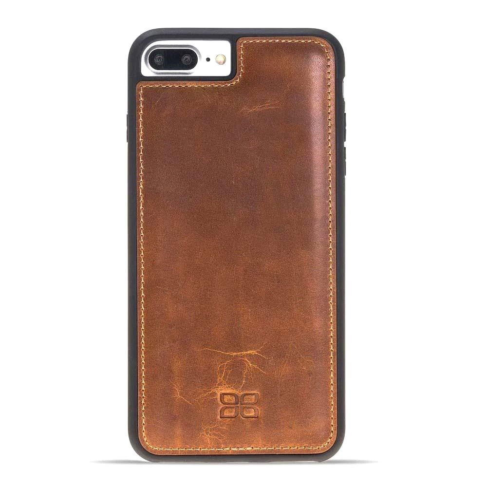 Husa slim piele naturala + rama TPU moale, back cover, iPhone 8 Plus / 7 Plus - Bouletta Flex Cover, Vegetal tan