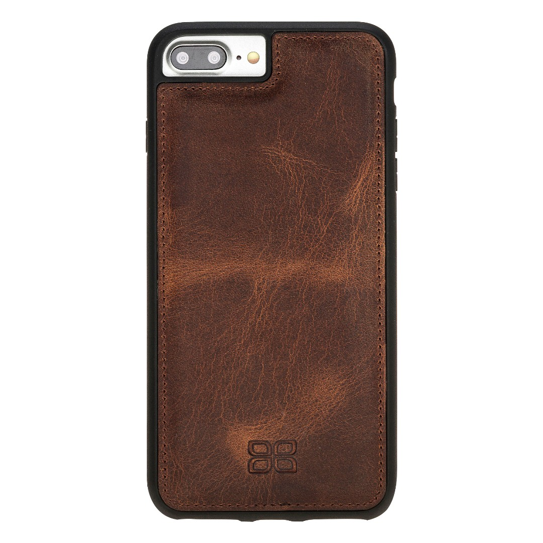 Husa slim piele naturala + rama TPU moale, back cover, iPhone 8 Plus / 7 Plus - Bouletta Flex Cover, Antique brown