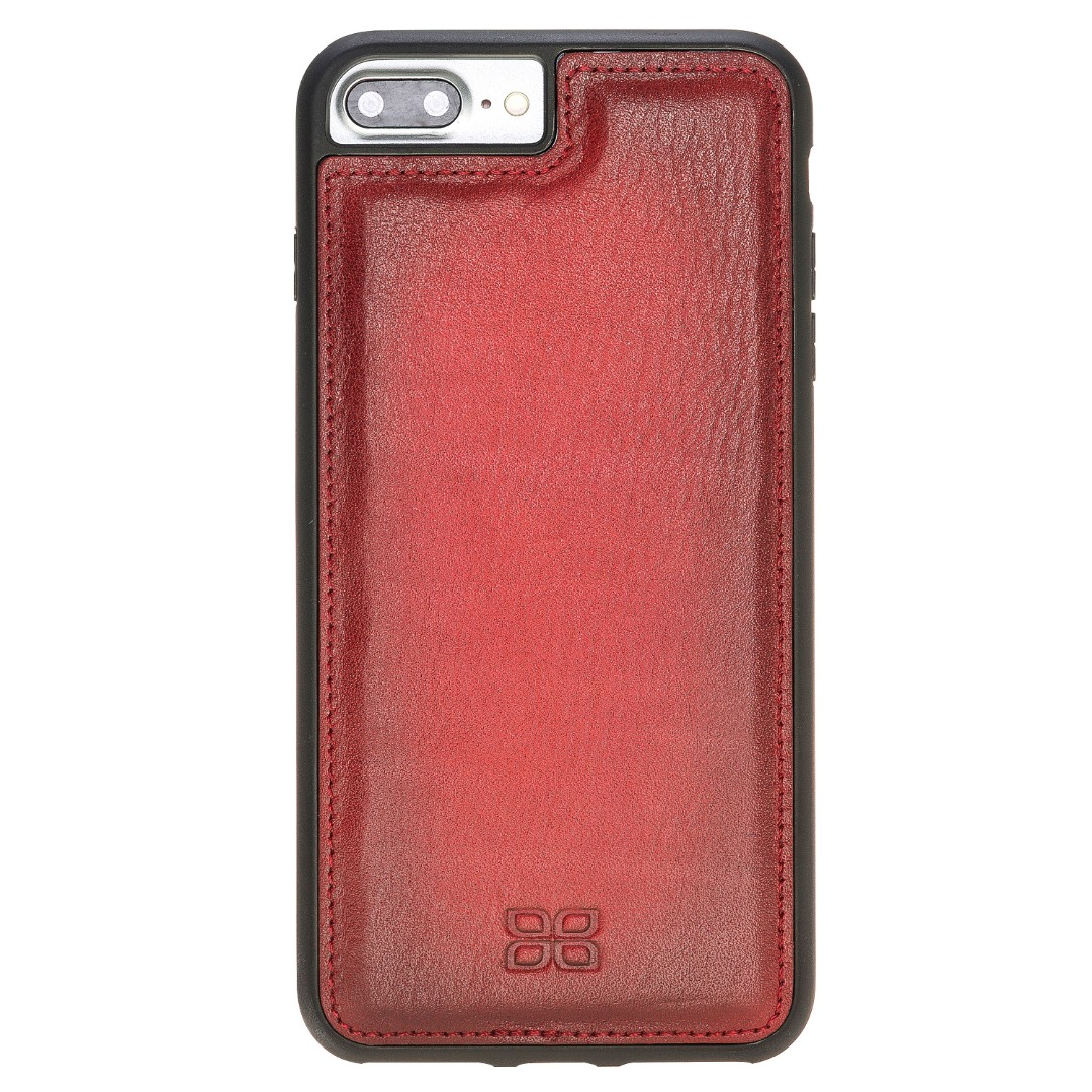 Husa slim piele naturala + rama TPU moale, back cover, iPhone 8 Plus / 7 Plus - Bouletta Flex Cover, Burnished red