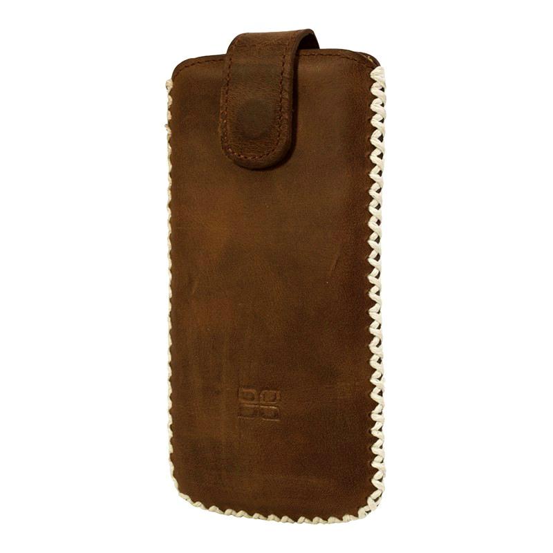 Husa tip saculet piele naturala, cusatura contrast, inchidere ferma, telefoane pana la 159mm - Bouletta, Antique coffee