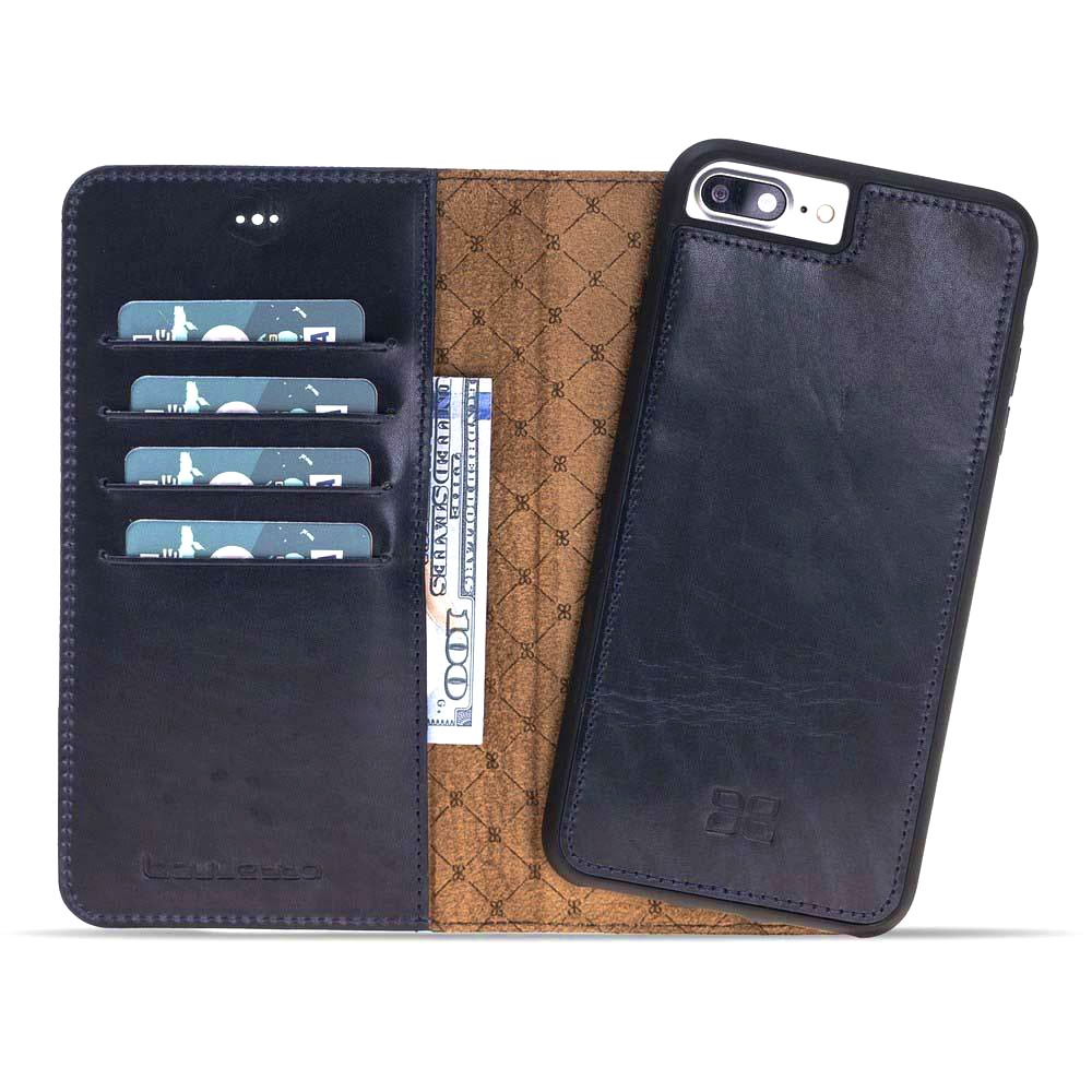 Husa piele naturala 2 in 1, tip portofel + back cover, iPhone 8 Plus / 7 Plus - Bouletta Magic Wallet, Deep blue