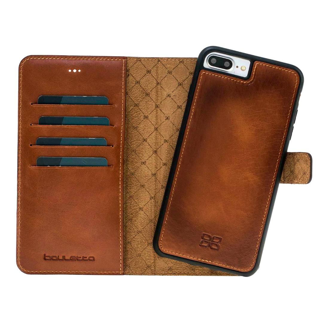 Husa piele naturala 2 in 1, tip portofel + back cover, iPhone 8 Plus / 7 Plus - Bouletta Magic Wallet, Burnished tan